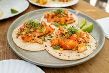Lobster Tacos On A Gray Plate In A 3 Combo