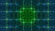 4k Loop Background Blue And Green Kaleidoscope Light
