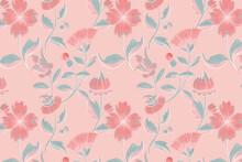 Vintage Pink Floral Pattern Background, Featuring Public Domain Artworks
