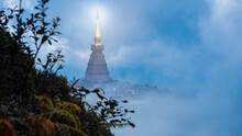 The Great Holy Relics Pagoda With Beautiful Sunrise Sky Background In Doi Inthanon National Park Chiang Mai, Thailand. Landscape Of Highest Mountain In Thailand.