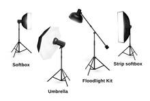 Studio Lighting Equipment Isolated On White Background