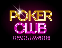 Vector Electric Logo Poker Club. Pink Glowing Font. Creative Neon Alphabet Letters And Numbers Set