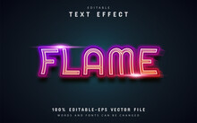 Flame Text, Neon Gradient Style Text Effect