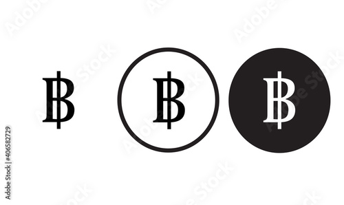 Fotografija money icon thai baht   black outline logo for web site design and mobile dark mo