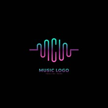 Initial Letter C. Music Wave Logotype. Elegant Music Sound Logo Fit For Business And Music Event. Vector Logo Design.