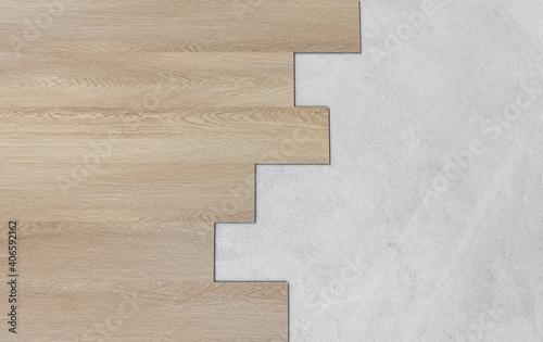 Fototapeta Wooden and concrete floor texture. Wood texture backgrounds obraz na płótnie