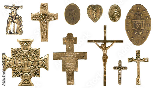 Miraculous Christian Catholic Antique Bronze Medals Fototapete