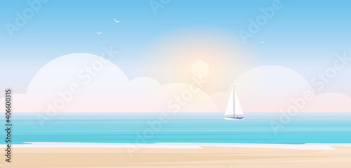 Photo Beach landscape, cartoon seascape scenery with sea or ocean water waves, yacht s