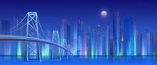 City Bridge At Night, Neon Light Illuminated Modern Futuristic Cityscape With Skyscrapers