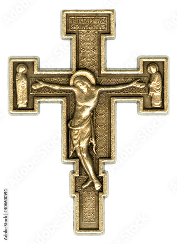 Leinwand Poster Antique Gold Orthodox Christian Crucifix