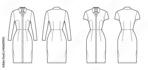 Fotografie, Obraz Shirt dress technical fashion illustration with classic collar, knee length, fitted body, Pencil fullness, button up