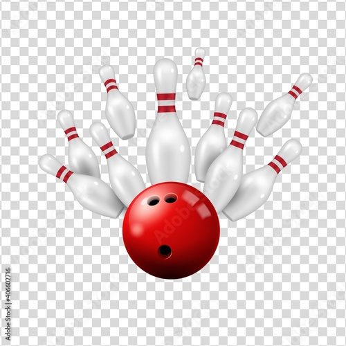 Bowling ball and skittles isolated on transparent background, vector ninepin str Fototapeta