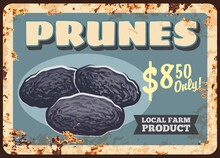 Prunes Dried Plums Fruits Rusty Metal Plate, Food Sweets And Farm Market Price, Vector Vintage Poster. Natural Organic Dried Plums Or Prunes Fruits, Metal Plate With Rust Grunge