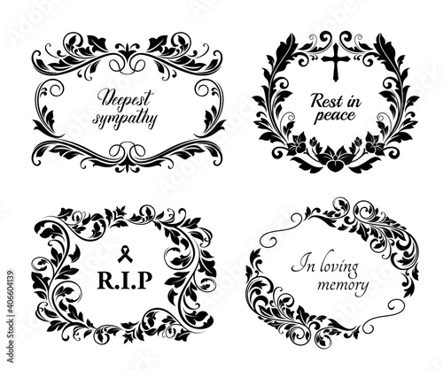 Fotografie, Obraz Funeral cards, vector vintage condolence floral wreaths, ornament with flourishes and obituary typography