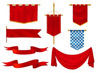 Medieval flags and banners, royal vector fabric of red and chequered blue and white colors. Vintage style ribbons, knight standards with golden fringe, antique military gonfalon on poles isolated set