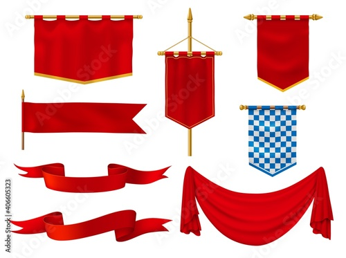 Cuadros en Lienzo Medieval flags and banners, royal vector fabric of red and chequered blue and white colors