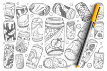Jars With Drinks Doodle Set. Collection Of Hand Drawn Fruit Lemonade Soda And Refreshment Drinks In Metal Bottles Isolated On Transparent Background. Illustration Of Cold Drinks For Summer