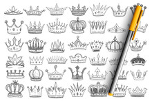 Elegant Crowns For Kings Doodle Set. Collection Of Hand Drawn Stylish Crowns Accessories Headwear For Kings And Queens Decorated With Jewels And Gems Isolated On Transparent Background