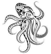 Polynesian Style Octopus Tattoo