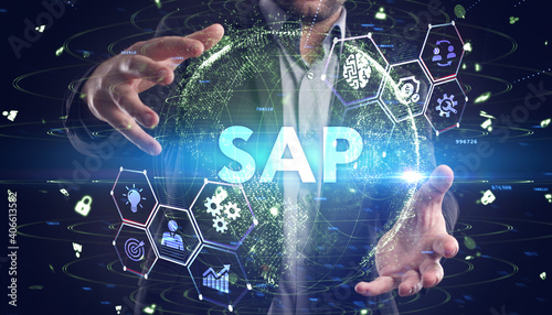 Obraz SAP System Software Automation concept on virtual screen data center. Business, modern technology, internet and networking concept - fototapety do salonu