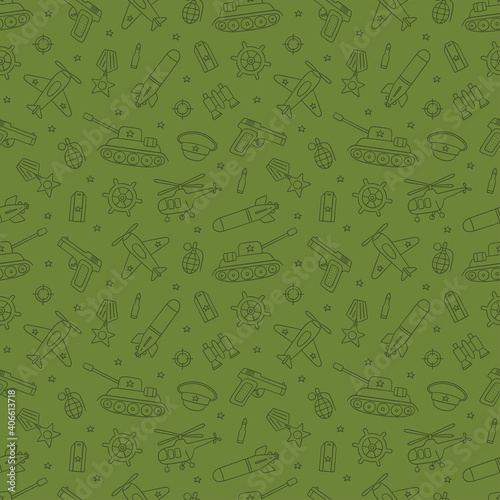 Canvas Print Seamless pattern for Defender of the Fatherland Day 23 february and Victory day 9 may