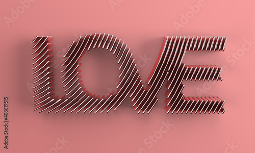 Canvas Print 3D Render Love text 3D Illustration Deign.