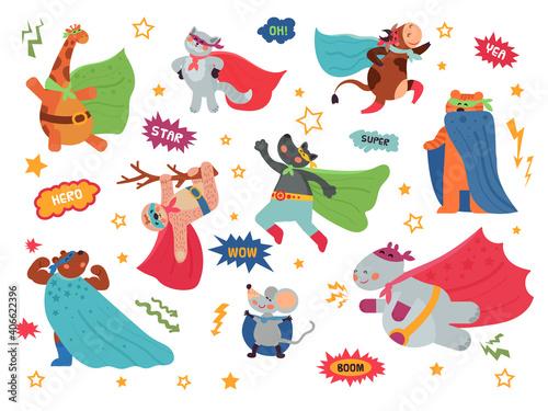 Fototapeta premium Animal superhero. Cartoon child animals, hero costume on cat giraffe. Brave wild bear wolf, wild character in superman cape decent vector set. Animal mascot in cloak, sloth and mouse illustration