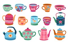 Cups And Teapot. Scandinavian Kitchen Cup, Trendy Colored Coffee Mug Kettles. Floral Ornaments Crockery, Breakfast Dishes Exact Vector Set. Teapot And Cup, Kitchenware Tea Cartoon Illustration