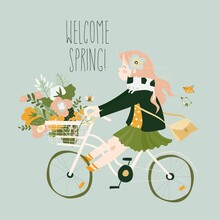 Cute Cartoon Girl Is Riding Bike With Spring Bouquet Of Flowers