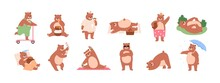 Set Of Funny Bear Characters Riding Scooter, Eating Honey And Icecream, Waving With Paw, Dancing, Lying, Rolling, Exercising And Sleeping. Colored Flat Vector Illustration Isolated On White Background