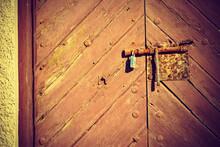 Old Wooden Door With Rustic Lock