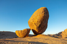 Eroded Granite Boulder In The Erongo Mountains, Namibia, At Sunrise