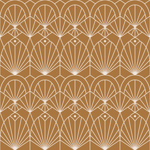 Art Deco Seamless Pattern In A Trendy Minimal Linear Style. Vector Abstract Retro Background With Geometric Shapes. For Packaging, Fabric Printing, Wallpaper, Covers