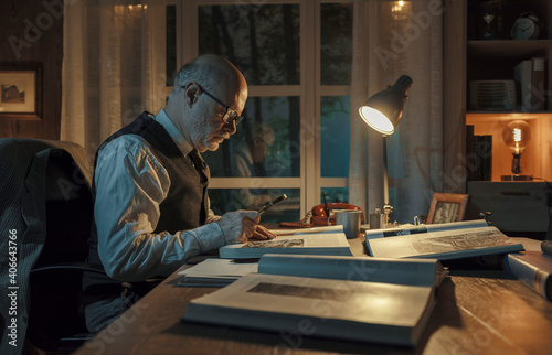 Professor studying in his office