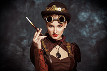 Steampunk Lady With Cigarette