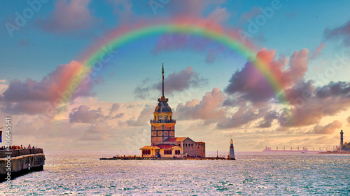Canvas Print Maiden's Tower  and rainbow in Istanbul  Turkey