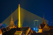 Wat Phra Kaew Or Wat Phra Si Rattana Satsadaram, Beautiful Night Time Of Wat Pra Kaew, Landmark Of Bangkok City, Temple Of The Emerald Buddha And Grand Palace.