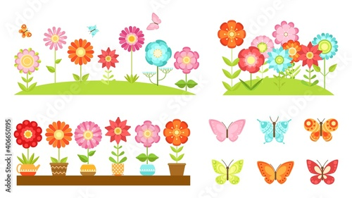 Flat garden flower borders. Wild flowers, blooming plants in pots. Colorful butterflies, spring summer time decorative elements vector set. Illustration blossom flora, plant leaf colorful