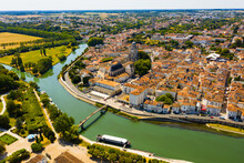 Fly Over The Picturesque Town Of Saintes And Saint Peters Basilica. France