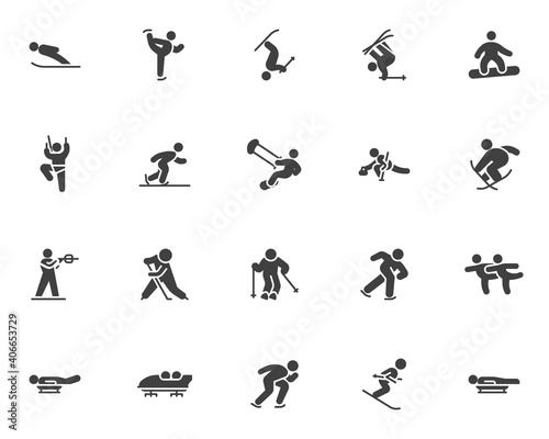 Foto Winter sport vector icons set, modern solid symbol collection, filled style pictogram pack