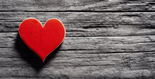 Red Heart On A Wood Background Concept For Love, Dating And Romance With Copy Space