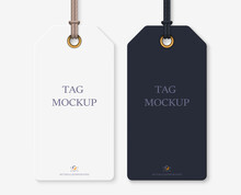 Realistic Tag Mockup: Blank Whute And Black Tag For Your Design. Isolated On Light Transparent Background. Vector Illustration EPS10.
