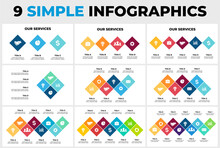 9 Rhombus Vector Infographics. Presentation Slide Template. Data Visualization. Scheme With Squares.