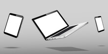Laptop, Mobile Phone And Tablet Floating Over Grey Background