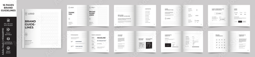 Fototapeta Square Brand Manual Template, Simple style and modern layout Brand Style , Brand Book, Brand Identity, Brand Guideline, Guide Book