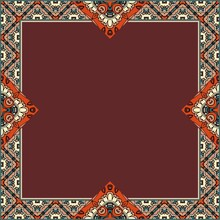 Carpet, Napkin, Wrapping Template Or Shawl With An Unusual Ornamental Frame And An Empty Brown Center.