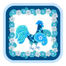 Cute Cartoon Cockerel In Blue And Sapphire Tones And Decorative Paisley Frame And Flowers Around. Print For Ceramic Tiles, Handkerchiefs, Pillows, Hot Coasters. Russian Folklore Motives.