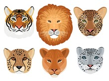 Wild Cat Head Set. Hunting Trophy, Lion And Tiger, Leopard And Snow Leopard, Cheetah Front Face Of Wildcats, Vector Illustration Of Aggressive Beasts Heads Isolated On White Background