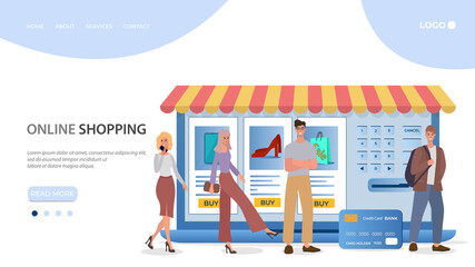 Online store.People use a credit card to make purchases in an online store.The concept of online trading.Flat vector illustration.The template of the landing page.