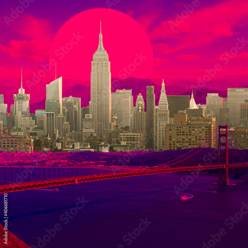 Evening. Cityscape in bright colors. Trendy neon lighted background, wallpaper with copyspace for ad. Modern design. Contemporary art collage. Inspiration, mood, creativity concept. Retrowave style.